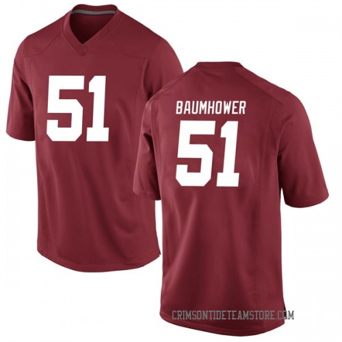 Youth Nike Wes Baumhower Alabama Crimson Tide Game Crimson Football College Jersey