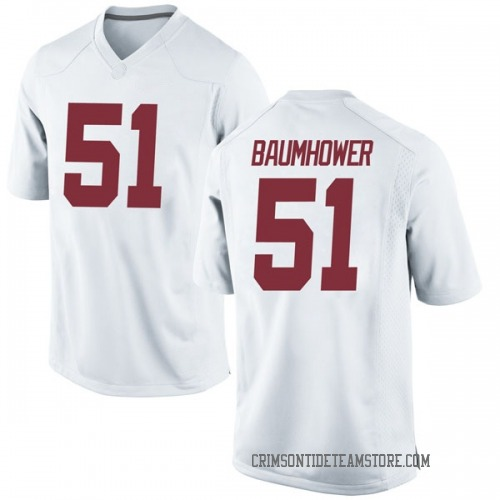 Youth Nike Wes Baumhower Alabama Crimson Tide Game White Football College Jersey