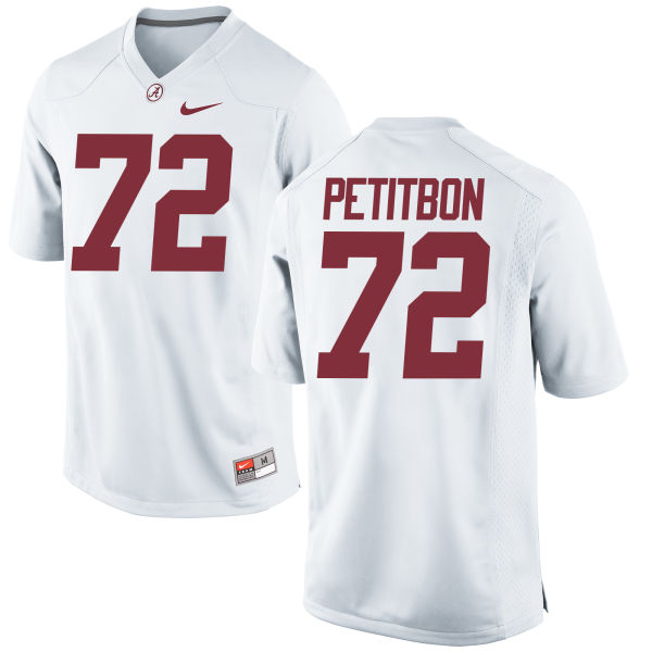 Men's Nike Richie Petitbon Alabama Crimson Tide Authentic White Jersey